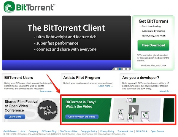 BitTorrent Front Page